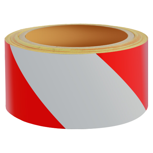 Reflecterend Tape ECONOMIC 50mm ROOD-WIT links