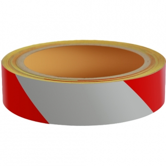 Reflecterend Tape ECONOMIC 25mm ROOD-WIT links