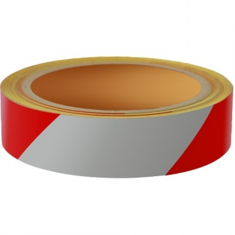 Reflecterend Tape ECONOMIC 25mm ROOD-WIT rechts