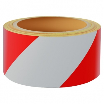 Reflecterend Tape ECONOMIC 50mm ROOD-WIT rechts